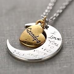 Fashion Grandpa Heart And Moon Pendant Silver Alloy Pendant Necklace(1 Pc)