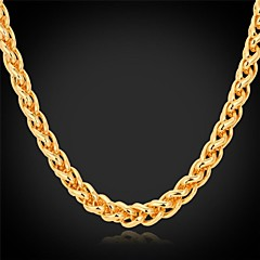 U7®Twisted Rope Chain Necklace 18K Real Gold Plated Long Chunky Necklace Fashion Jewelry for Women/Men