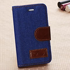 Denim PU Leather Full Body Case with Strap with Stent Card for iPhone 4/4S (Assorted Colors)