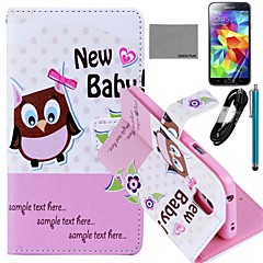 COCO FUN® Owl Baby Pattern PU Leather Case with Film and USB Cable and Stylus for Samsung Galaxy S5 I9600