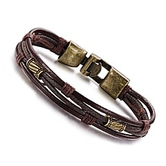 Men's Leather Bracelet Wrap Bracelet Hip-Hop Personalized Vintage Leather Copper Titanium Steel Cross Silver Bronze Jewelry ForDaily