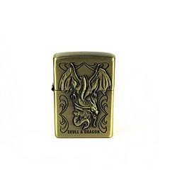 créative flamme huile de motif de dragon léger - laiton antique