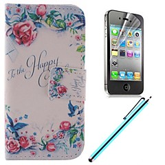 Pure Flower Design PU Full Body Case with Card Slot and Stand for iPhone 4/4S