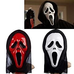 branco&máscara de fantasma vermelho com tampa da cabeça gritar brincadeira aparelhos cosplay assustador do partido do traje do dia das bruxas