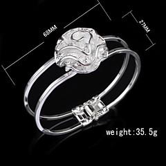 Fashion Sterling Silver Plated Rose Bangle Women's Bracelet