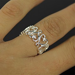Silver Hollow Heart Ring - Silver