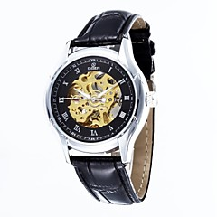 Men's Skeleton Dial  Leather Strap Automatic Mechanical Waterproof  Watch(Assorted Colors)