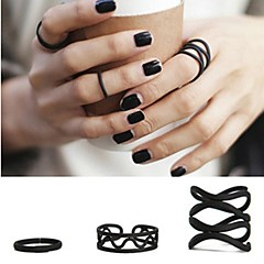 Ring Party / Daily / Casual Jewelry Alloy Statement Rings / Set 3pcs,Adjustable Black