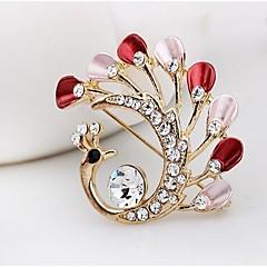 moda broche de diamante de liga de pavão (1pc)