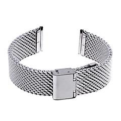 Unisex 20mm dik gaas stalen horloge band band armband vouw over gesp zilver