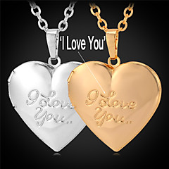 U7® I Love You Photo Floating Pendant Locket Necklace 18K Gold Plated Necklace for Women or Men Fashion Jewelry