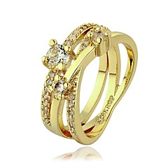 18 K Gold Plated Environmental Round Band Diamond  Ring (More Colors) Promis rings for couples