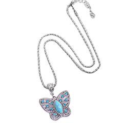 personalidad de la moda comodo antigua turquesa cristalina valle mariposa colgante collar con incrustaciones
