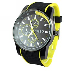Men's Round Dial  Silicone Band Quartz Analog Wrist Watch(Assorted Colors)