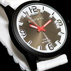 rodada de água silicone mostrador preto faixa preta moda feminina resistir relógio de quartzo (cores sortidas)