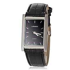 mostrador quadrado preto banda quartzo pu relógio de pulso dos homens