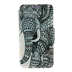 For HTC etui Med stativ Med vindue Flip Etui Heldækkende Etui Elefant Hårdt Kunstlæder for HTC