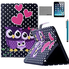 COCO FUN® Owl Family Pattern PU Leather Flip Stand Case with Screen Protector and Stylus for Apple iPad mini 1/2/3