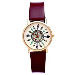 Women's Retro  Leather Watch Circular High Quality Japanese Watch Movement(Assorted Colors)