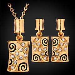 Korusetti Kristalli Tekojalokivi Platinum Plated Gold Plated 18K kulta Square Shape Kulta Valkoinen KorusettiHäät Party Päivittäin