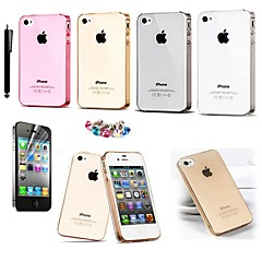 KARZEA™ 0.05mm Ultrathin Transparent TPU Back Cover Case With Screen Protector+Stylus for iPhone 4/4S(Assorted Colors)
