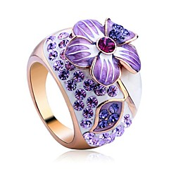 Noble And Elegant Purple Flower 18K Rose Gold Plated Ring Jewelry Austrian Crystals