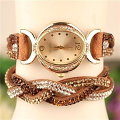 Women's 2015 The Latest Fashion Crystal Leather  Quartz Watch Hot Sale(Assorted Colors)