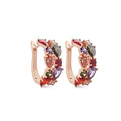 Zircon Hoop Earrings For Women 10KT  Gold Filled Earring Fashion Jewelry With Gift Box High Quality
