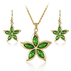 Europe And The American Five Petal Flower Type Alloy Necklace And Earrings Jewelry Set