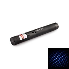 303 Harden Aluminum 9-Mode Starry Blue Laser Pointer with 18650 Battery & US Charger (5MW, 405nm, 1x18650, Black)