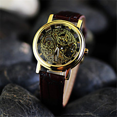 Men's Double Hollow Boutique Watch  Circular Leather  Automatic Mechanical Watches(Assorted Colors)