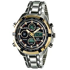 Masculino Relógio Esportivo Quartz LED / Calendário / Cronógrafo / Impermeável / Dois Fusos Horários / alarme Lega Banda Prata marca-