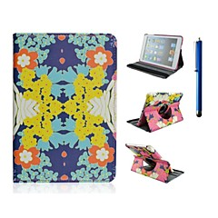 9.7 Inch 360 Degree Rotation Flower Pattern PU Leather with Stand Case and Pen for iPad Air /iPad 5
