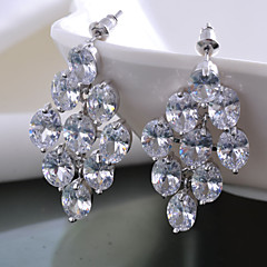 Women Drop Dangle Earrings 10KT White Gold Filled Zircon Earring For Lady's Gift High Quality