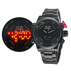 Men's Japanese Movement Quartz Militray Watch Analog-Digital LED Display Alarm/Month/Second/Date/Week Sport Watch Black