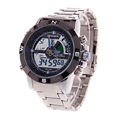 BESNEW BN-0797 Men's Analog + Digital Stainless Steel Wrist Watch (1 x LR626,Silver & Blue)