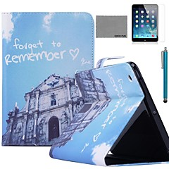 COCO FUN® Blue Buliding Pattern PU Leather Flip Stand Case with Screen Protector and Stylus for Apple iPad 2/3/4
