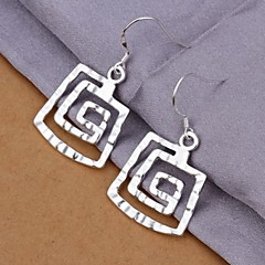Round Thread 925 Silver Drop Earrings(2Pc)