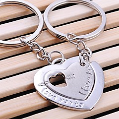 Double Heart Wedding Key Ring Keychain for Lover Valentine's Day(One Pair)