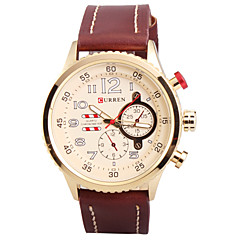 Man's Quartz Wrist Watch Round Dial Fashion PU Leather Strap (Assorted Colors)