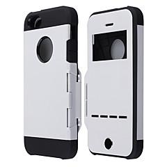 pc protection bascule armures retour de cas de couverture w / fenêtre visuelle, magnétique coulissant appel réponse pour iphone 5 / 5s