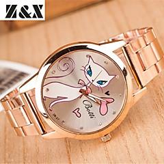 المرأة أزياء الماس القط الأبيض مرآة الكوارتز التناظرية ووتش الصلب حزام