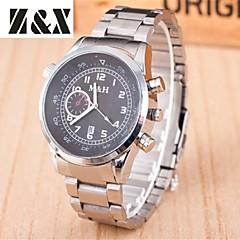 Men's Fashion Double Eyes Calendar Quartz Analog Steel Belt Watch(Assorted Colors)