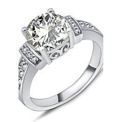 High Quality Fashion Women White Rounded Zircon Ring