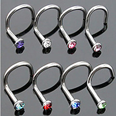Body Piercing Jewellery Fashion Stainless Steel Crystal Nose Ring Body Jewelry Piercing(Random Color)