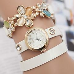 yoonheel Da donna Orologio alla moda Orologio braccialetto Quarzo Pelle Banda Floreale Stile Boho Nero Bianco Blu Oro