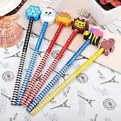 Children With Cartoon Eraser Pencil