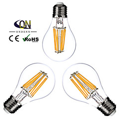 3 Stück ONDENN E26/E27 8W 8 COB 800 LM Warmes Weiß A60(A19) edison Vintage LED Glühlampen AC 220-240 / AC 110-130 V