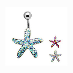 Fashion Stainless Steel Pentagram Navel Belly Button Ring Dancing Body Jewelry Piercing