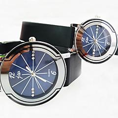tondo orologio quadrante diamante della cinghia di plastica semplice quarzo della coppia (colori assortiti)